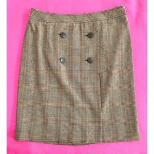APOSTROPHE Stretch Brown Plaid Button Front Skirt